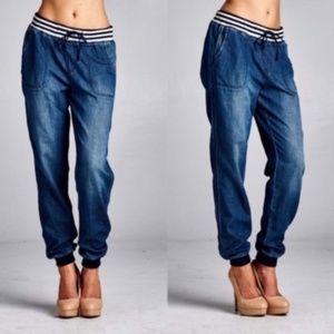 cozy dark denim look pocket striped waist joggers